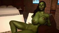 Green orc girl perform titjob, 1920x1080, 58 s, 19.9MB, mp4